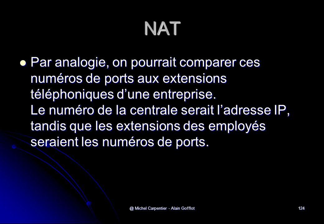 @ Michel Carpentier - Alain Gofflot124 NAT  Par analogie, on pourrait comparer ces numéros de ports aux extensions téléphoniques d'une entreprise. Le