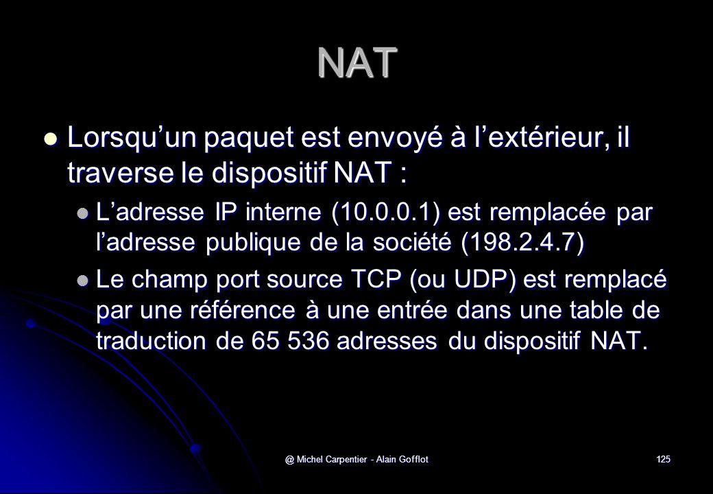 @ Michel Carpentier - Alain Gofflot125 NAT  Lorsqu'un paquet est envoyé à l'extérieur, il traverse le dispositif NAT :  L'adresse IP interne (10.0.0