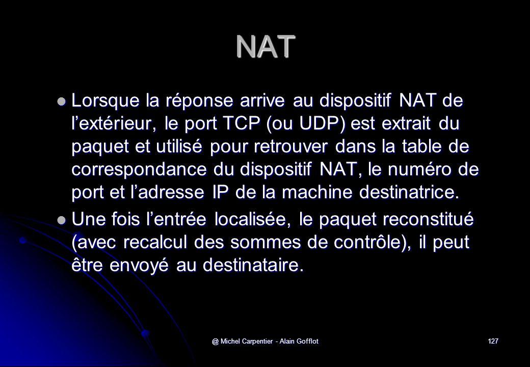 @ Michel Carpentier - Alain Gofflot127 NAT  Lorsque la réponse arrive au dispositif NAT de l'extérieur, le port TCP (ou UDP) est extrait du paquet et