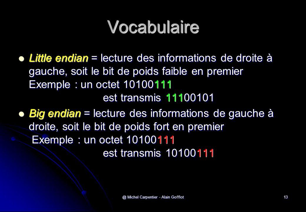@ Michel Carpentier - Alain Gofflot13 Vocabulaire  Little endian = lecture des informations de droite à gauche, soit le bit de poids faible en premie