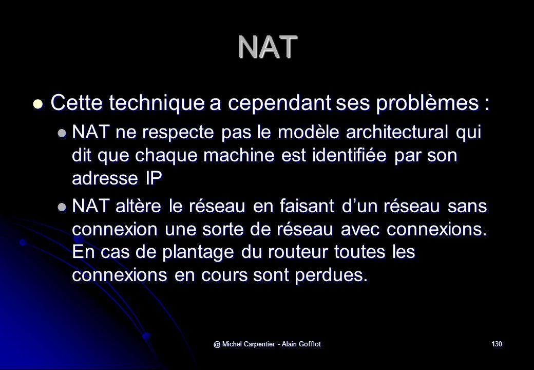 @ Michel Carpentier - Alain Gofflot130 NAT  Cette technique a cependant ses problèmes :  NAT ne respecte pas le modèle architectural qui dit que cha