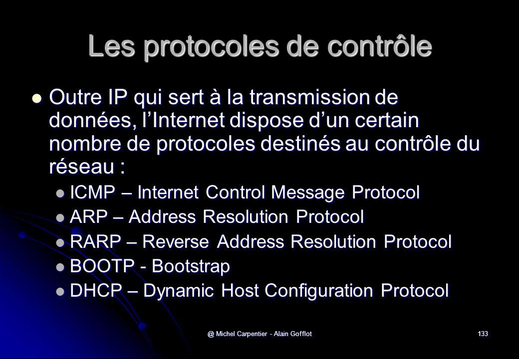 @ Michel Carpentier - Alain Gofflot133 Les protocoles de contrôle  Outre IP qui sert à la transmission de données, l'Internet dispose d'un certain no