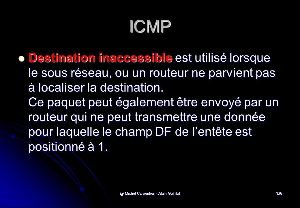 @ Michel Carpentier - Alain Gofflot136 ICMP  Destination inaccessible est utilisé lorsque le sous réseau, ou un routeur ne parvient pas à localiser l