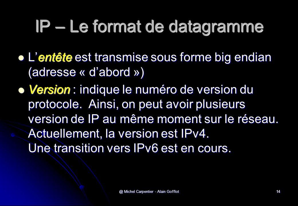 @ Michel Carpentier - Alain Gofflot14 IP – Le format de datagramme  L'entête est transmise sous forme big endian (adresse « d'abord »)  Version : in