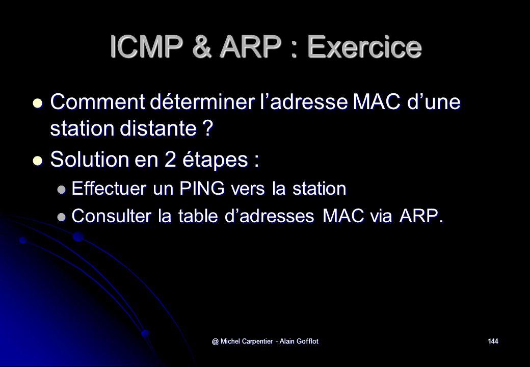 @ Michel Carpentier - Alain Gofflot144 ICMP & ARP : Exercice  Comment déterminer l'adresse MAC d'une station distante ?  Solution en 2 étapes :  Ef