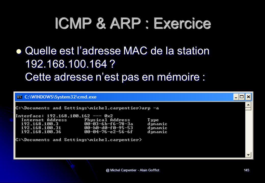 @ Michel Carpentier - Alain Gofflot145 ICMP & ARP : Exercice  Quelle est l'adresse MAC de la station 192.168.100.164 ? Cette adresse n'est pas en mém