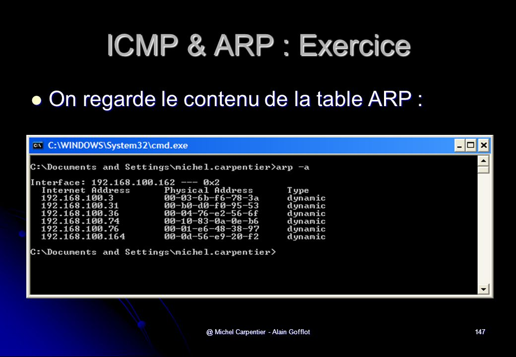 @ Michel Carpentier - Alain Gofflot147 ICMP & ARP : Exercice  On regarde le contenu de la table ARP :