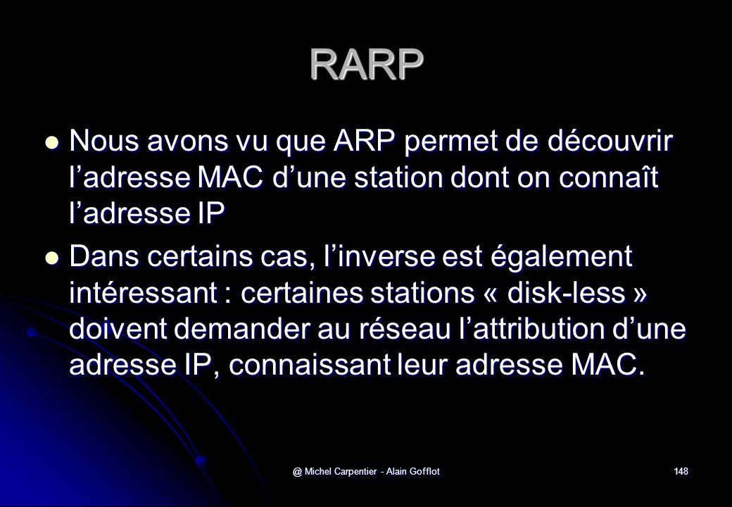 @ Michel Carpentier - Alain Gofflot148 RARP  Nous avons vu que ARP permet de découvrir l'adresse MAC d'une station dont on connaît l'adresse IP  Dan