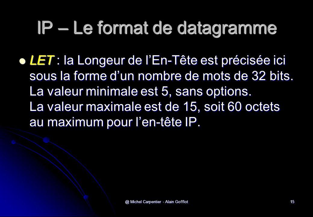 @ Michel Carpentier - Alain Gofflot15 IP – Le format de datagramme  LET : la Longeur de l'En-Tête est précisée ici sous la forme d'un nombre de mots