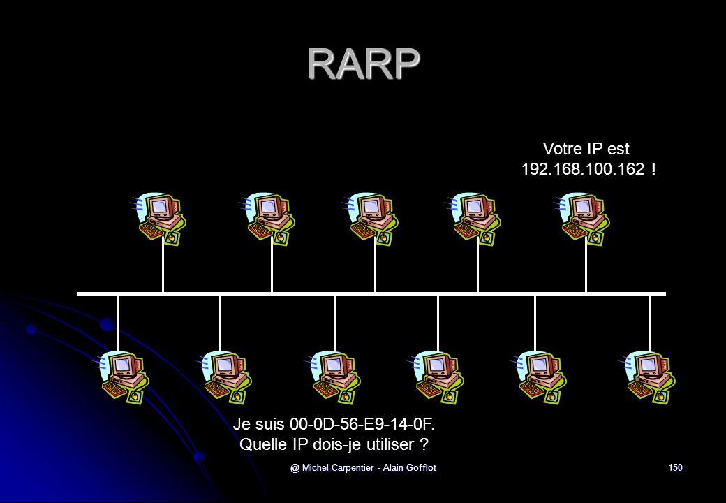 @ Michel Carpentier - Alain Gofflot150 RARP Je suis 00-0D-56-E9-14-0F. Quelle IP dois-je utiliser ? Votre IP est 192.168.100.162 !