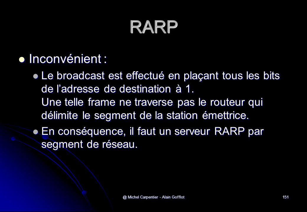 @ Michel Carpentier - Alain Gofflot151 RARP  Inconvénient :  Le broadcast est effectué en plaçant tous les bits de l'adresse de destination à 1. Une