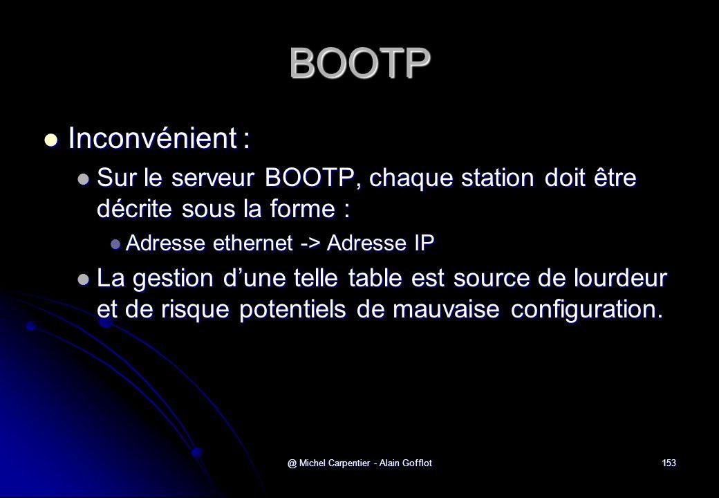 @ Michel Carpentier - Alain Gofflot153 BOOTP  Inconvénient :  Sur le serveur BOOTP, chaque station doit être décrite sous la forme :  Adresse ether
