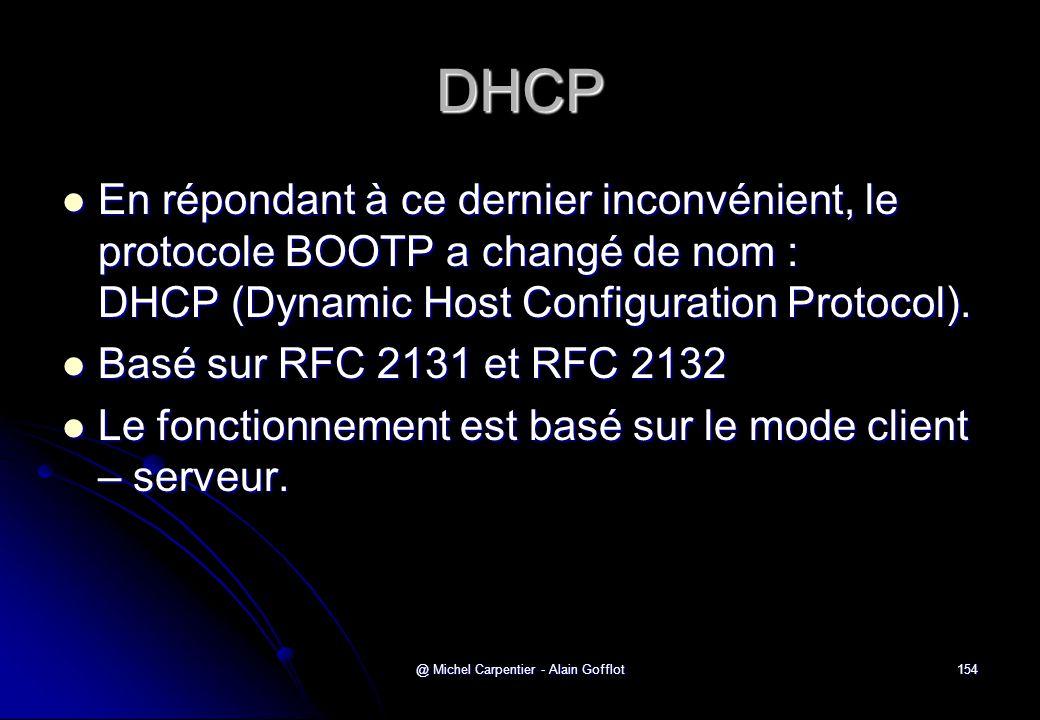 @ Michel Carpentier - Alain Gofflot154 DHCP  En répondant à ce dernier inconvénient, le protocole BOOTP a changé de nom : DHCP (Dynamic Host Configur