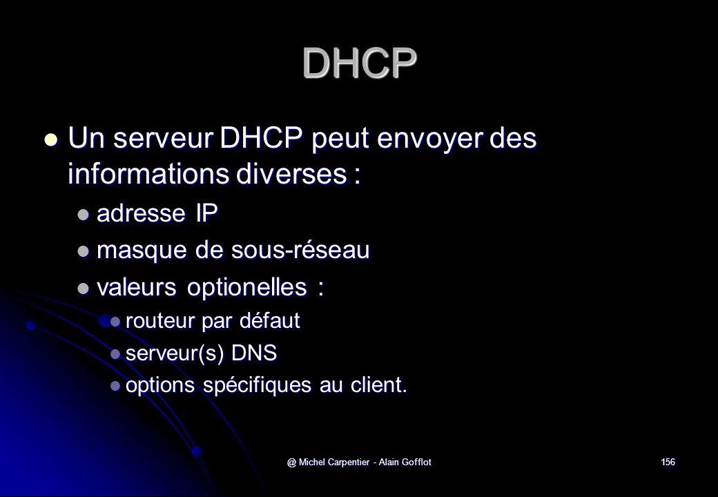 @ Michel Carpentier - Alain Gofflot156 DHCP  Un serveur DHCP peut envoyer des informations diverses :  adresse IP  masque de sous-réseau  valeurs