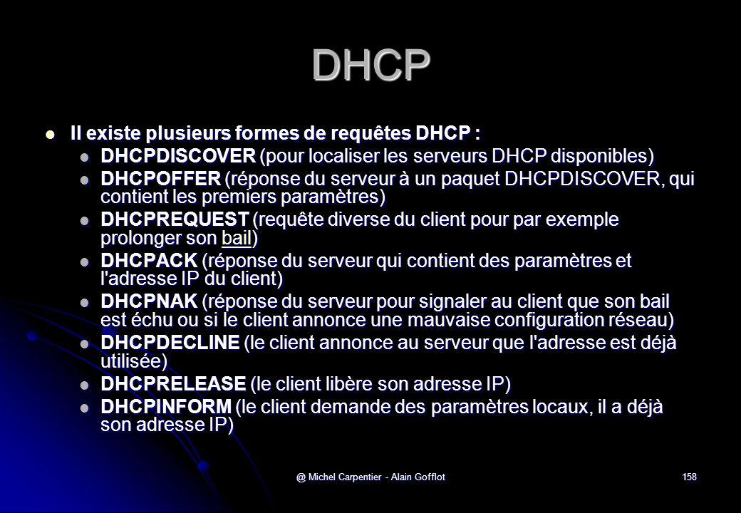 @ Michel Carpentier - Alain Gofflot158 DHCP  Il existe plusieurs formes de requêtes DHCP :  DHCPDISCOVER (pour localiser les serveurs DHCP disponibl