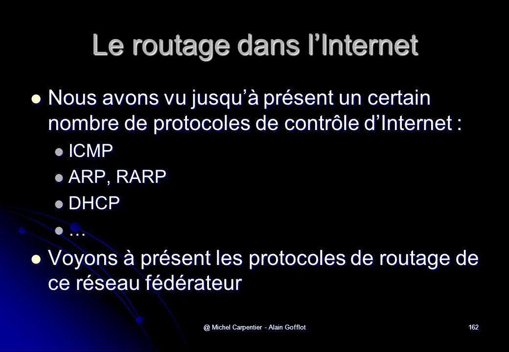 @ Michel Carpentier - Alain Gofflot162 Le routage dans l'Internet  Nous avons vu jusqu'à présent un certain nombre de protocoles de contrôle d'Intern