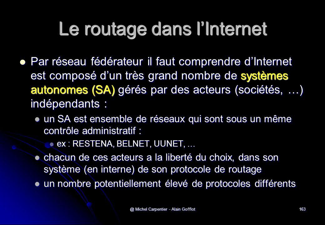 @ Michel Carpentier - Alain Gofflot163 Le routage dans l'Internet  Par réseau fédérateur il faut comprendre d'Internet est composé d'un très grand no