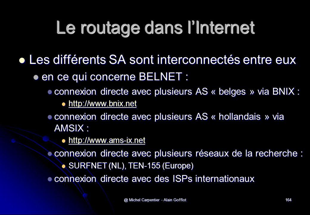 @ Michel Carpentier - Alain Gofflot164 Le routage dans l'Internet  Les différents SA sont interconnectés entre eux  en ce qui concerne BELNET :  co