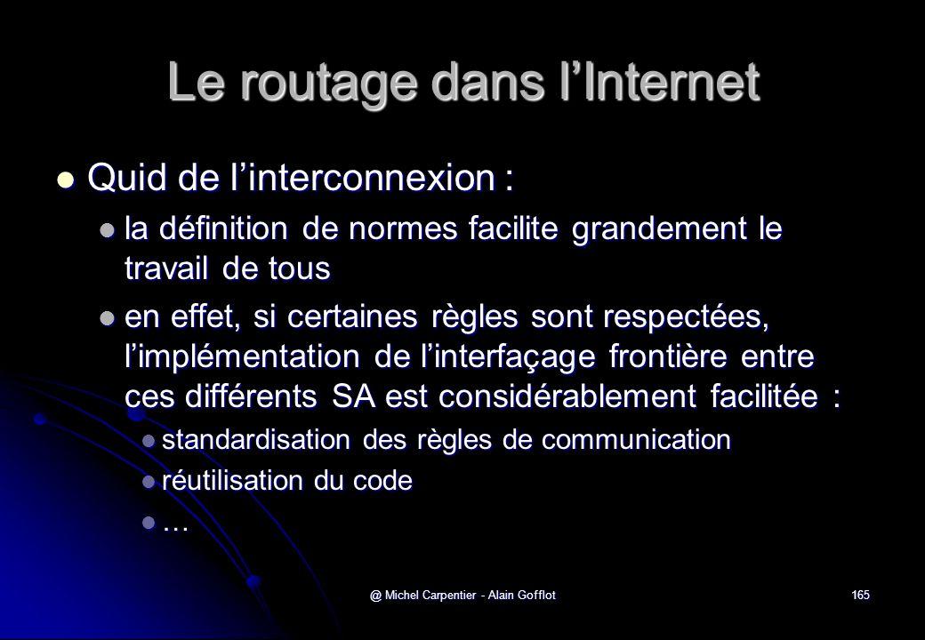 @ Michel Carpentier - Alain Gofflot165 Le routage dans l'Internet  Quid de l'interconnexion :  la définition de normes facilite grandement le travai
