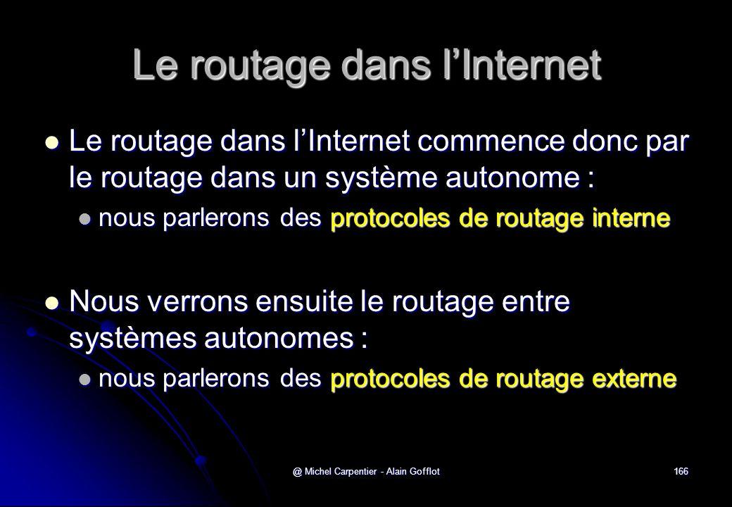 @ Michel Carpentier - Alain Gofflot166 Le routage dans l'Internet  Le routage dans l'Internet commence donc par le routage dans un système autonome :