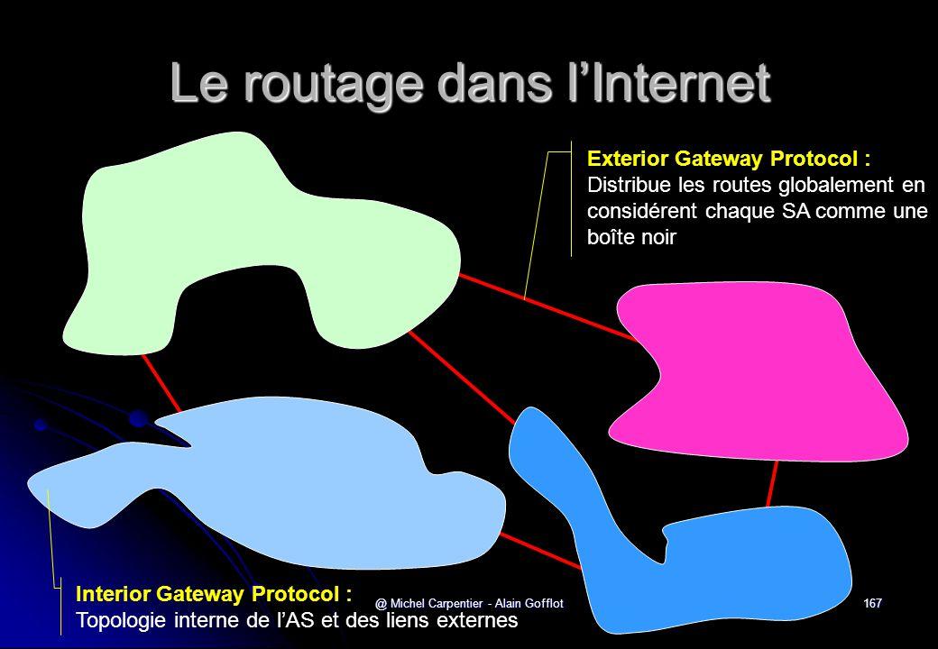 @ Michel Carpentier - Alain Gofflot167 Le routage dans l'Internet Exterior Gateway Protocol : Distribue les routes globalement en considérent chaque S
