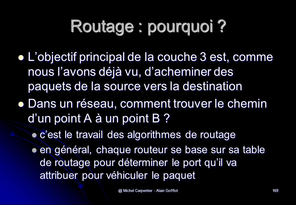@ Michel Carpentier - Alain Gofflot169 Routage : pourquoi ?  L'objectif principal de la couche 3 est, comme nous l'avons déjà vu, d'acheminer des paq