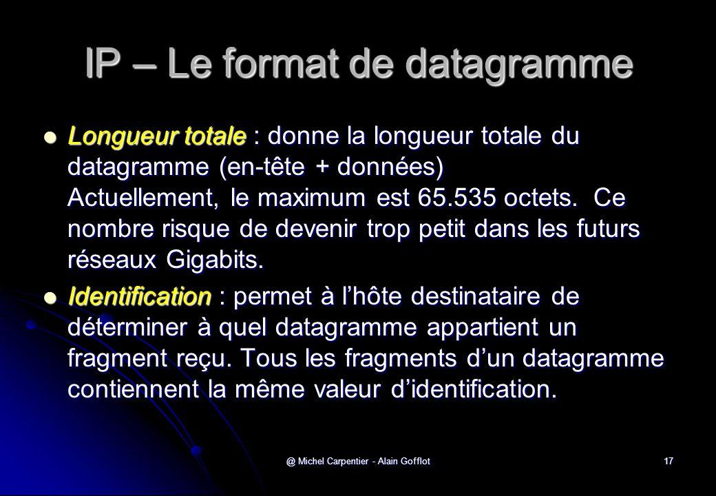 @ Michel Carpentier - Alain Gofflot17 IP – Le format de datagramme  Longueur totale : donne la longueur totale du datagramme (en-tête + données) Actu