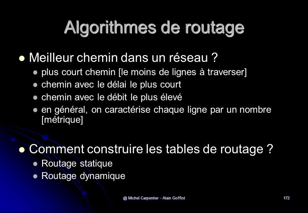 @ Michel Carpentier - Alain Gofflot172 Algorithmes de routage   Meilleur chemin dans un réseau ?   plus court chemin [le moins de lignes à travers