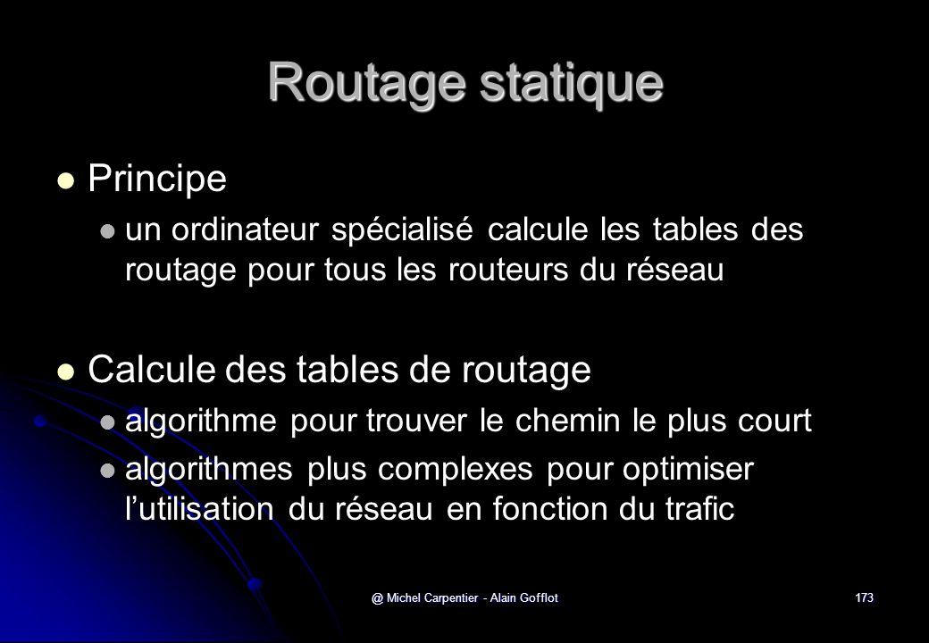 @ Michel Carpentier - Alain Gofflot173 Routage statique   Principe   un ordinateur spécialisé calcule les tables des routage pour tous les routeur