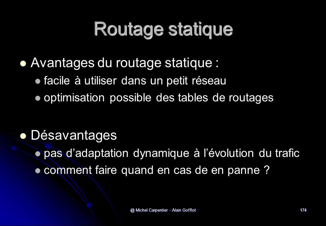 @ Michel Carpentier - Alain Gofflot174 Routage statique   Avantages du routage statique :   facile à utiliser dans un petit réseau   optimisatio