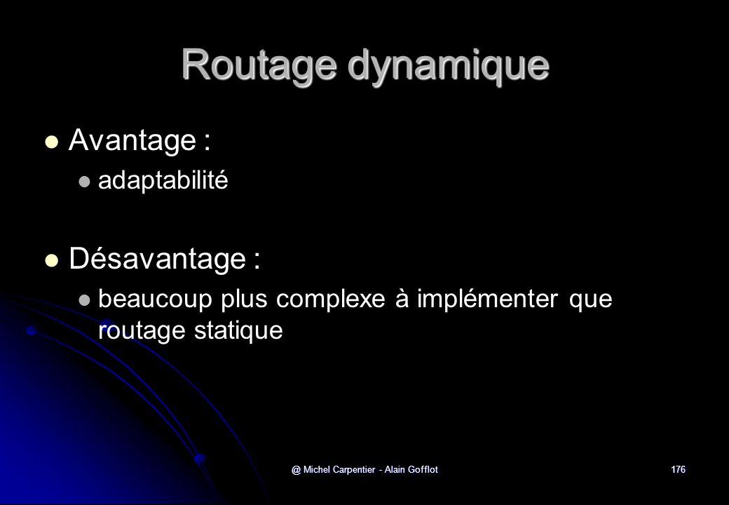 @ Michel Carpentier - Alain Gofflot176 Routage dynamique   Avantage :   adaptabilité   Désavantage :   beaucoup plus complexe à implémenter qu