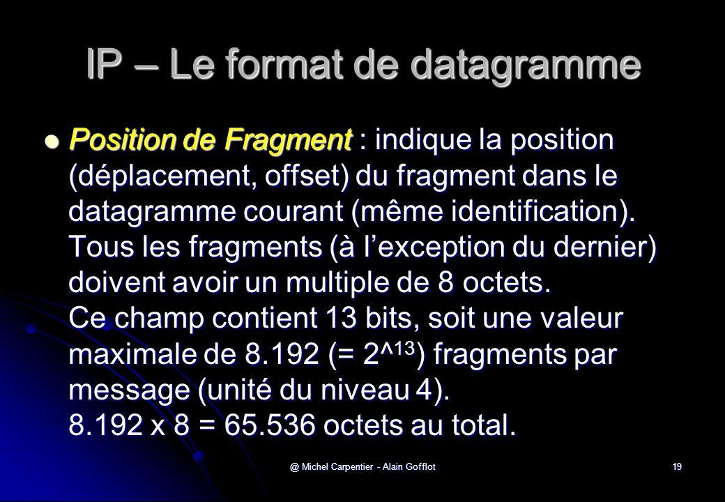 @ Michel Carpentier - Alain Gofflot19 IP – Le format de datagramme  Position de Fragment : indique la position (déplacement, offset) du fragment dans