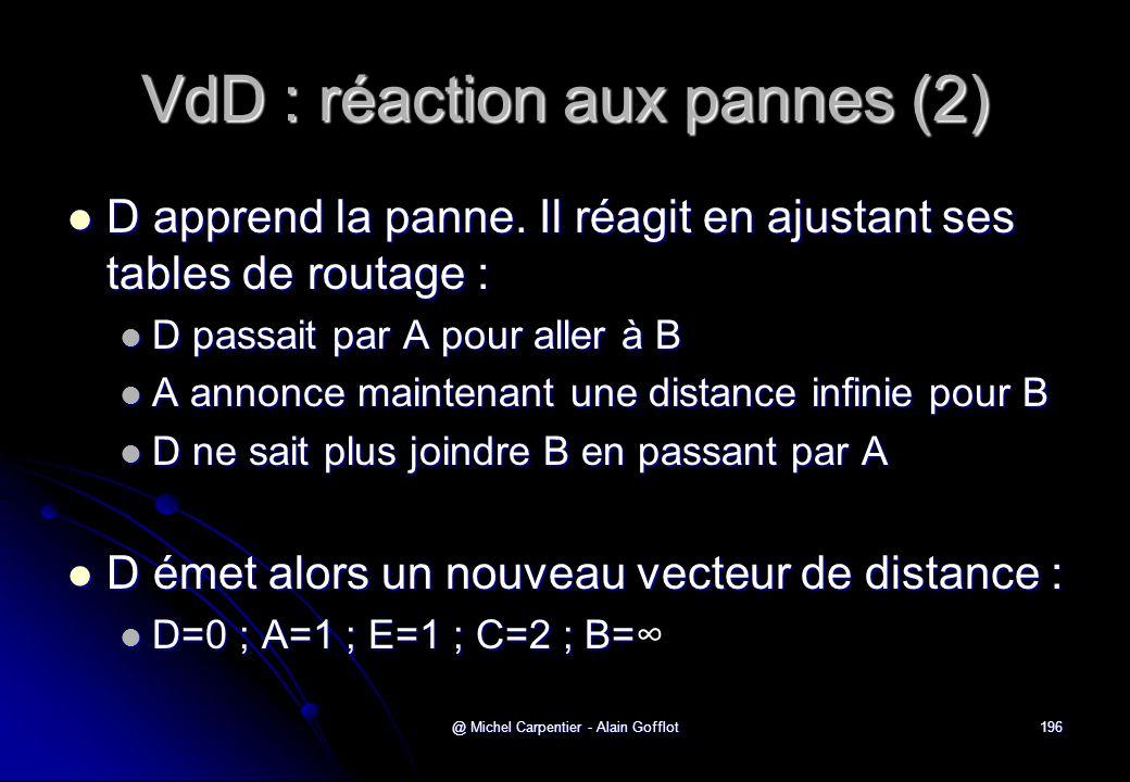 @ Michel Carpentier - Alain Gofflot196 VdD : réaction aux pannes (2)  D apprend la panne. Il réagit en ajustant ses tables de routage :  D passait p