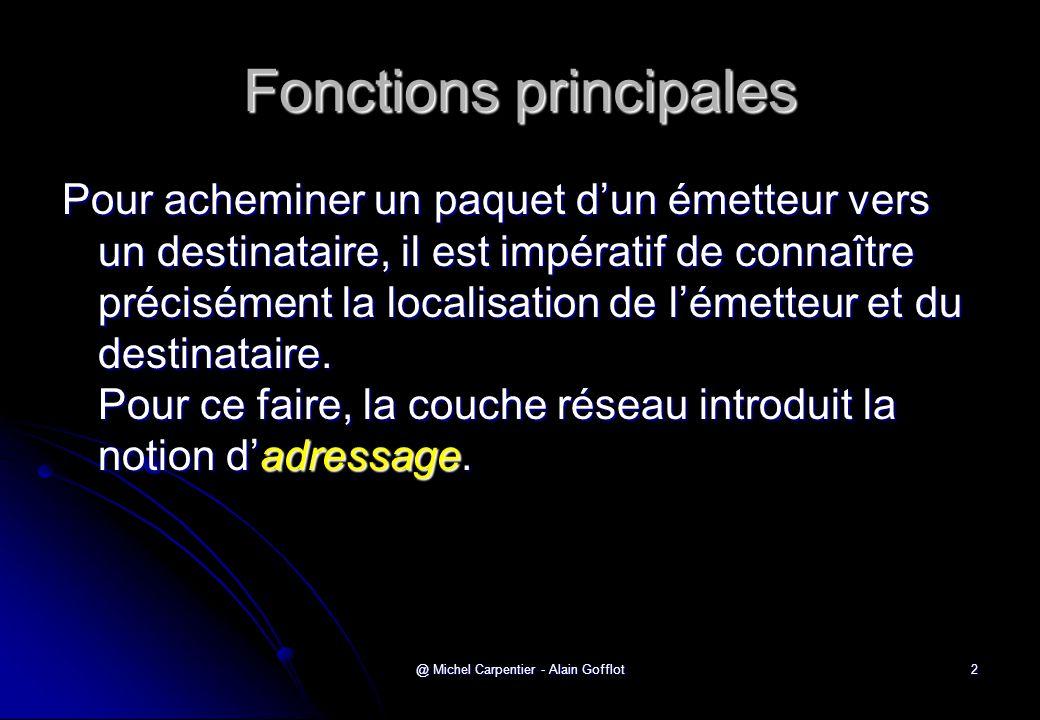 @ Michel Carpentier - Alain Gofflot2 Fonctions principales Pour acheminer un paquet d'un émetteur vers un destinataire, il est impératif de connaître