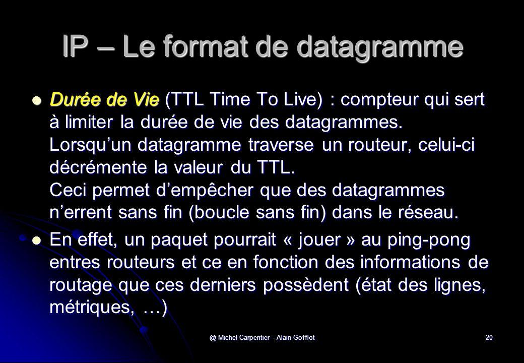 @ Michel Carpentier - Alain Gofflot20 IP – Le format de datagramme  Durée de Vie (TTL Time To Live) : compteur qui sert à limiter la durée de vie des