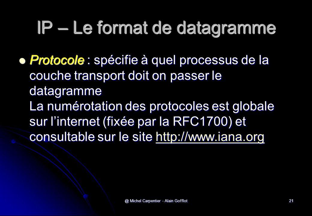 @ Michel Carpentier - Alain Gofflot21 IP – Le format de datagramme  Protocole : spécifie à quel processus de la couche transport doit on passer le da