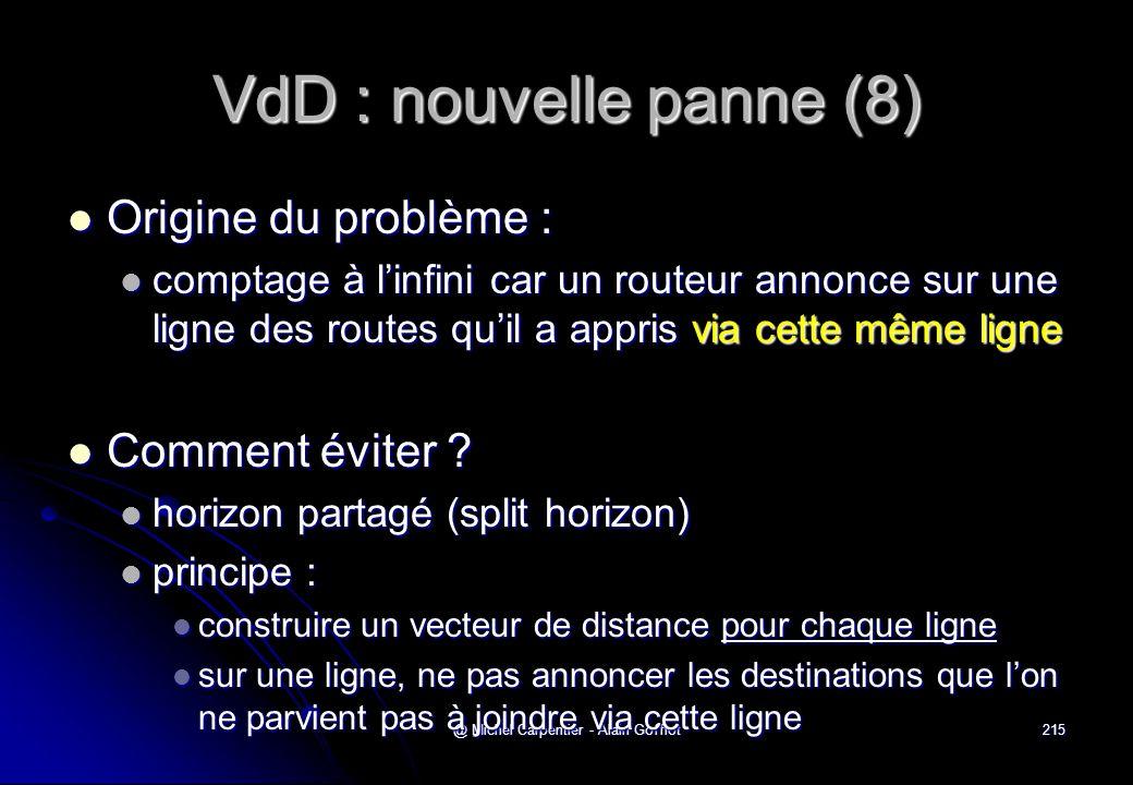 @ Michel Carpentier - Alain Gofflot215 VdD : nouvelle panne (8)  Origine du problème :  comptage à l'infini car un routeur annonce sur une ligne des