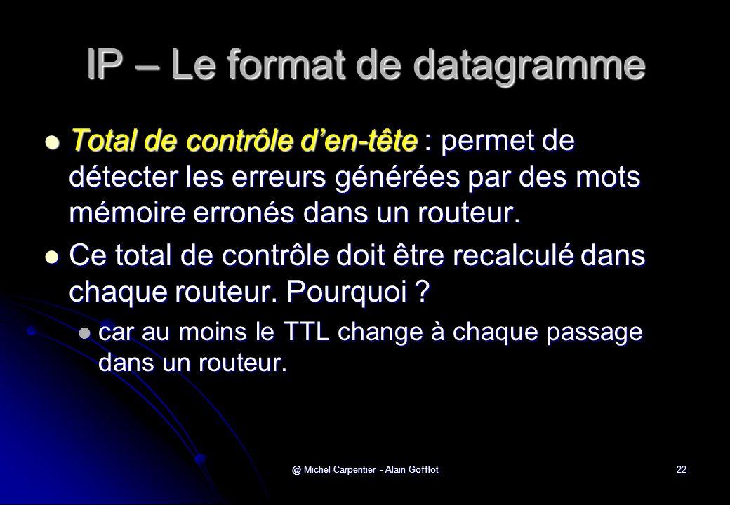 @ Michel Carpentier - Alain Gofflot22 IP – Le format de datagramme  Total de contrôle d'en-tête : permet de détecter les erreurs générées par des mot