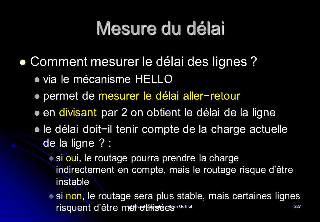 @ Michel Carpentier - Alain Gofflot227 Mesure du délai   Comment mesurer le délai des lignes ?   via le mécanisme HELLO   permet de mesurer le d