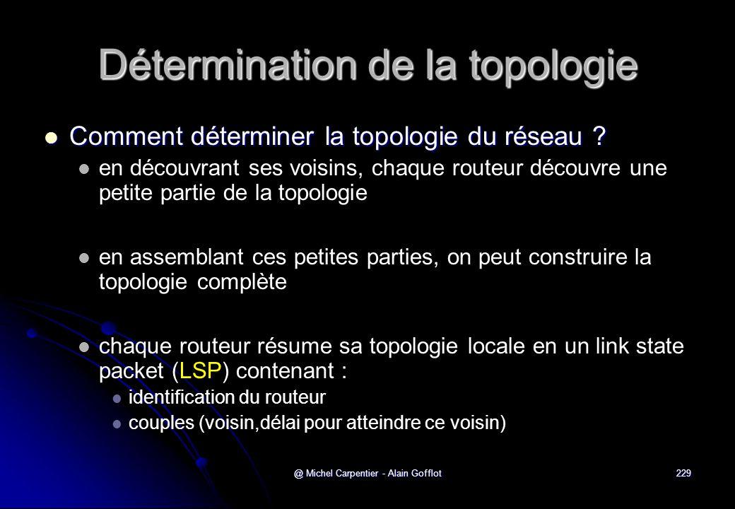 @ Michel Carpentier - Alain Gofflot229 Détermination de la topologie  Comment déterminer la topologie du réseau ?   en découvrant ses voisins, chaq