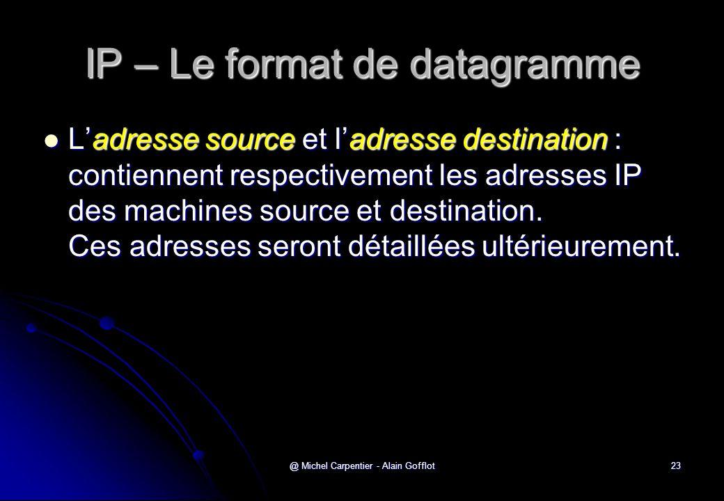 @ Michel Carpentier - Alain Gofflot23 IP – Le format de datagramme  L'adresse source et l'adresse destination : contiennent respectivement les adress