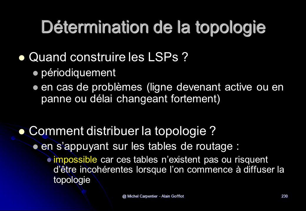 @ Michel Carpentier - Alain Gofflot230 Détermination de la topologie   Quand construire les LSPs ?   périodiquement   en cas de problèmes (ligne
