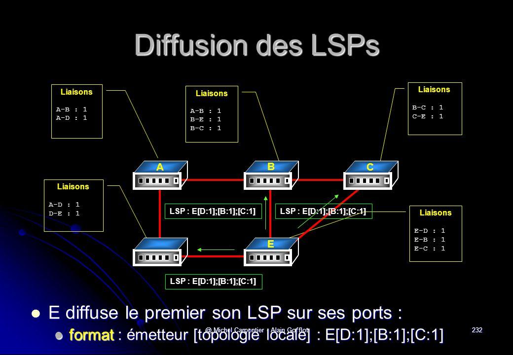 @ Michel Carpentier - Alain Gofflot232 Diffusion des LSPs  E diffuse le premier son LSP sur ses ports :  format : émetteur [topologie locale] : E[D: