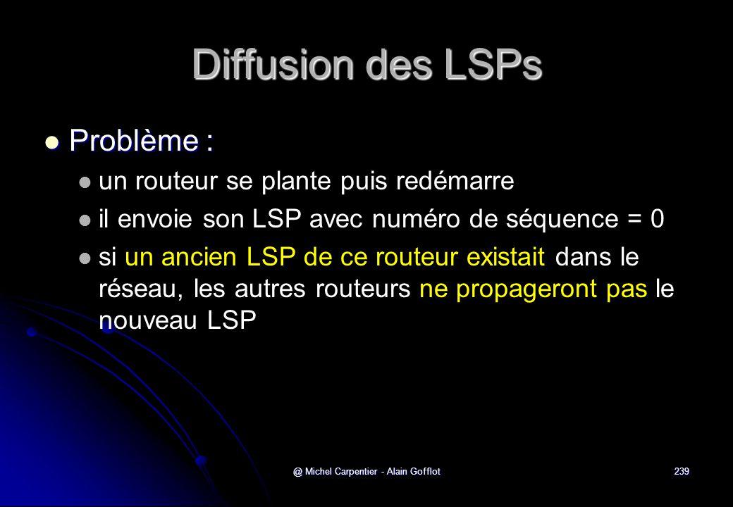 @ Michel Carpentier - Alain Gofflot239 Diffusion des LSPs  Problème :   un routeur se plante puis redémarre   il envoie son LSP avec numéro de sé