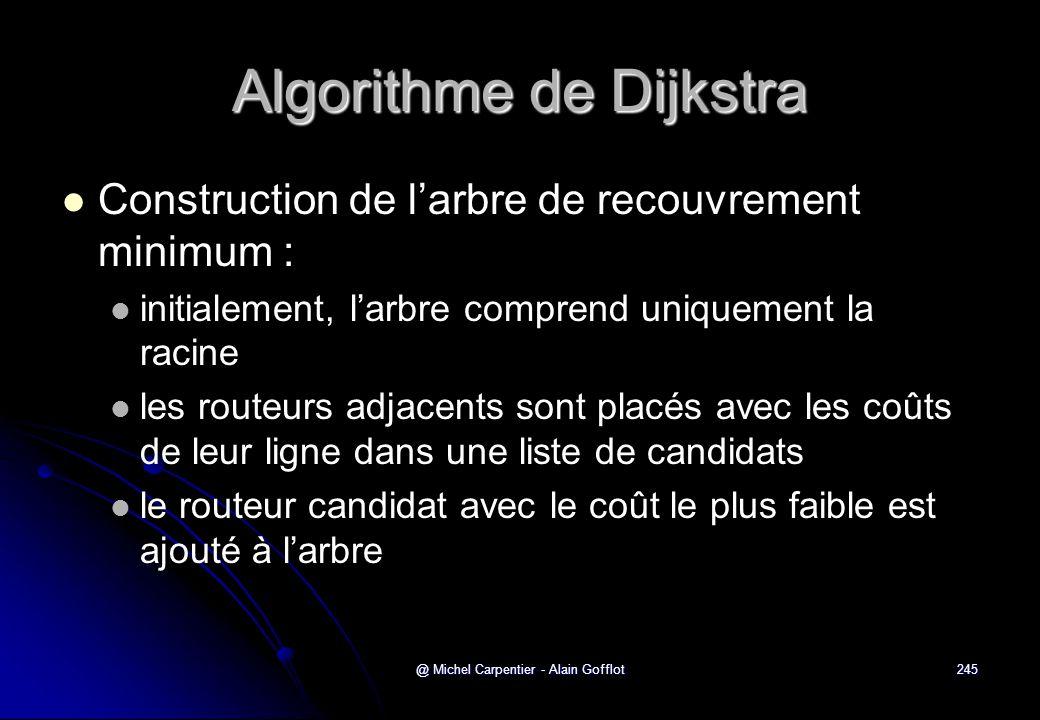 @ Michel Carpentier - Alain Gofflot245 Algorithme de Dijkstra   Construction de l'arbre de recouvrement minimum :   initialement, l'arbre comprend
