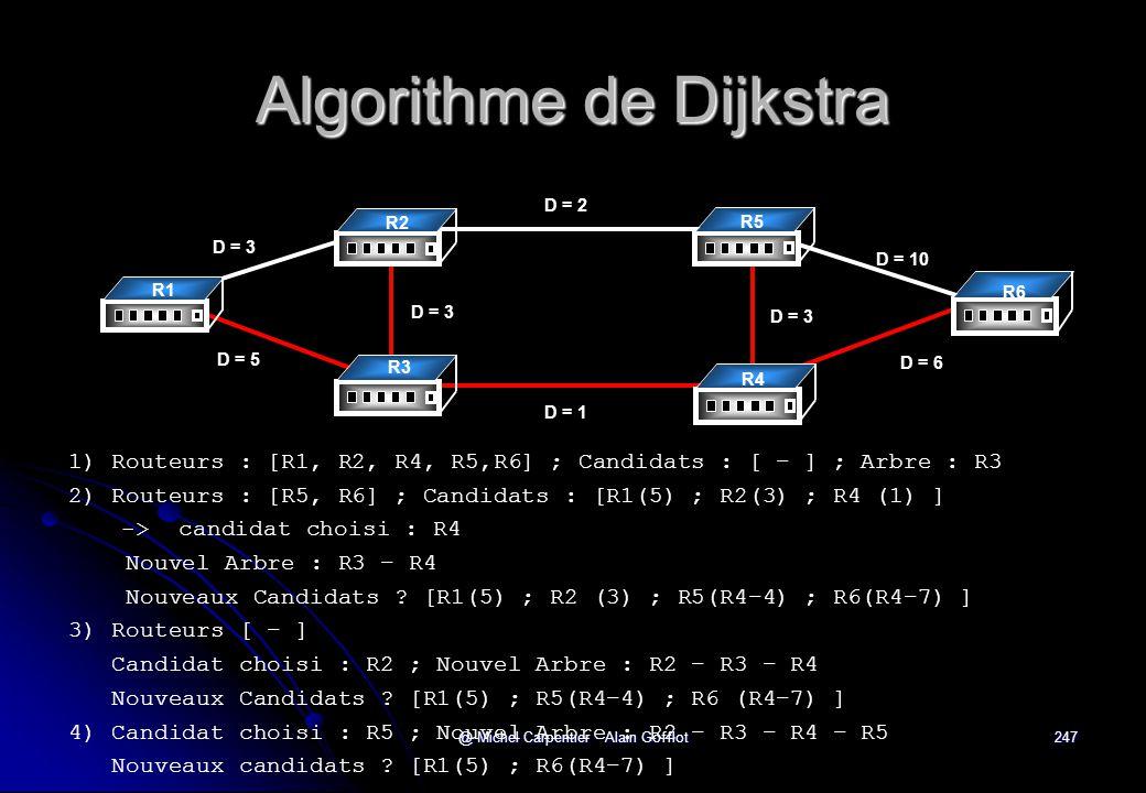 @ Michel Carpentier - Alain Gofflot247 Algorithme de Dijkstra 1) Routeurs : [R1, R2, R4, R5,R6] ; Candidats : [ − ] ; Arbre : R3 2) Routeurs : [R5, R6