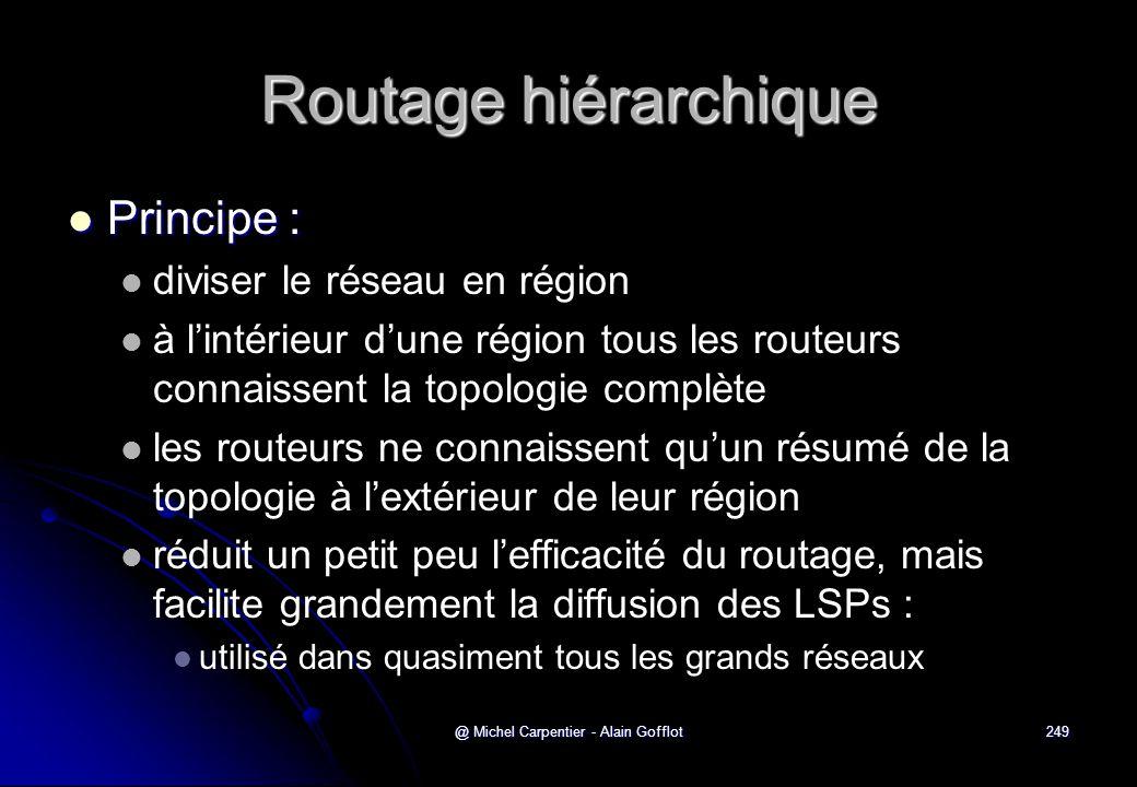 @ Michel Carpentier - Alain Gofflot249 Routage hiérarchique  Principe :   diviser le réseau en région   à l'intérieur d'une région tous les route