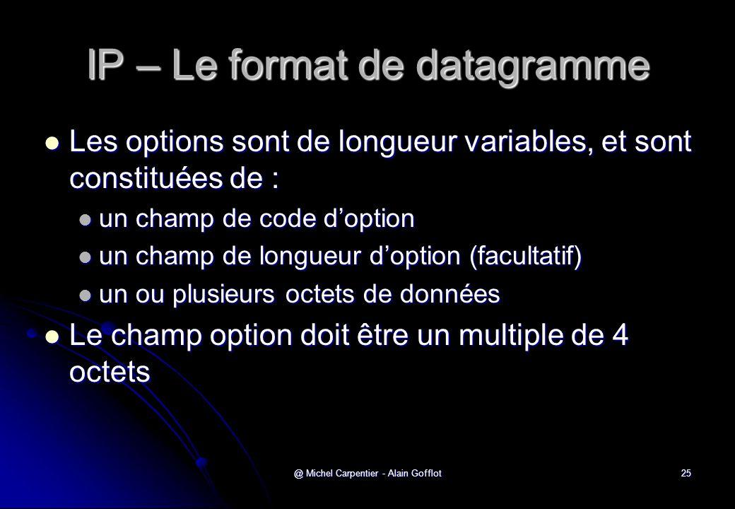 @ Michel Carpentier - Alain Gofflot25 IP – Le format de datagramme  Les options sont de longueur variables, et sont constituées de :  un champ de co