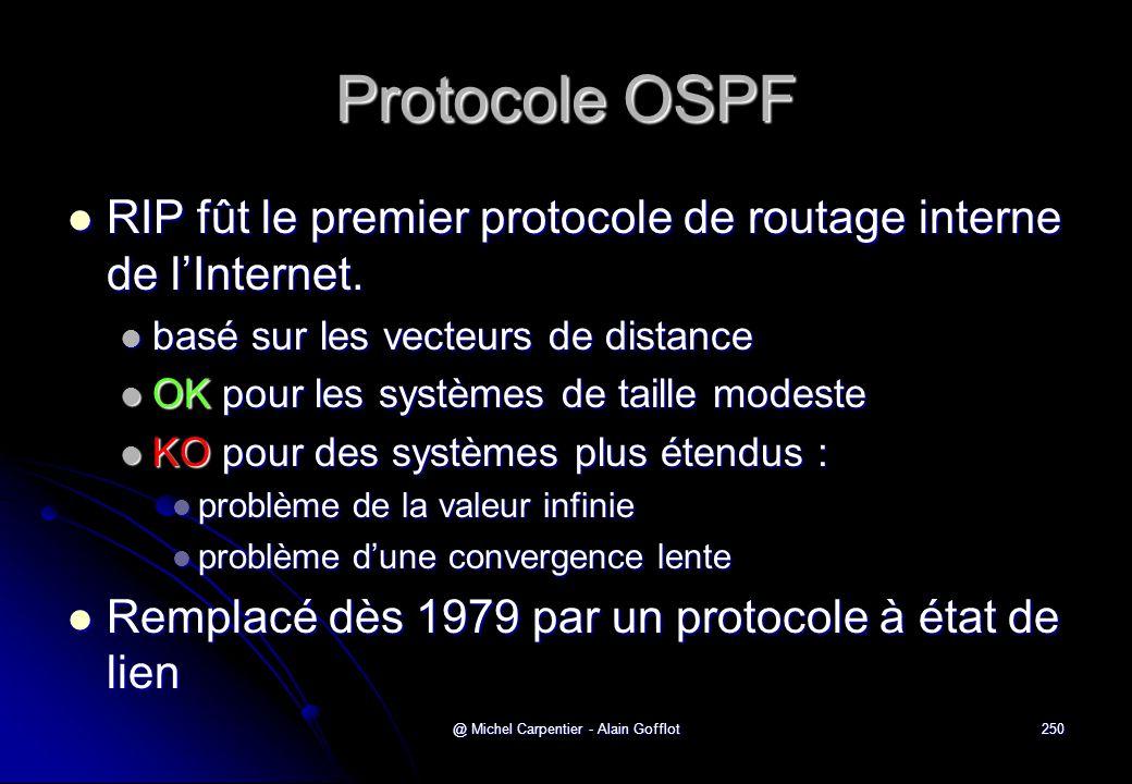 @ Michel Carpentier - Alain Gofflot250 Protocole OSPF  RIP fût le premier protocole de routage interne de l'Internet.  basé sur les vecteurs de dist