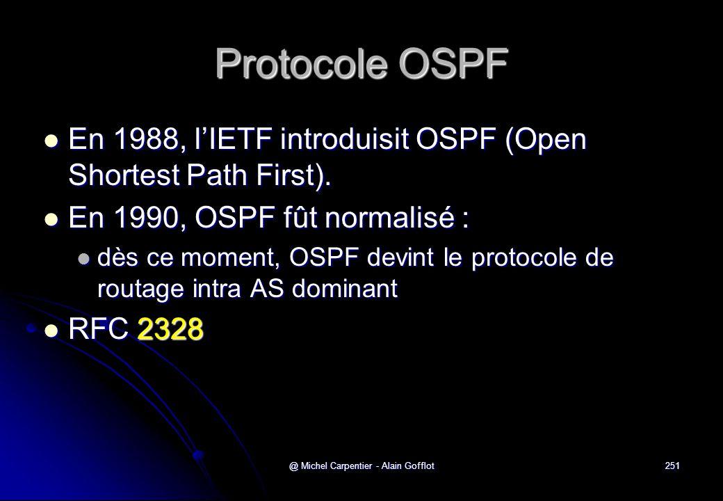 @ Michel Carpentier - Alain Gofflot251 Protocole OSPF  En 1988, l'IETF introduisit OSPF (Open Shortest Path First).  En 1990, OSPF fût normalisé : 